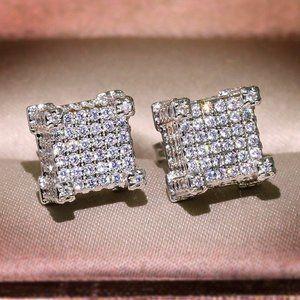 *18K White Gold Diamond All Around Square Earrings